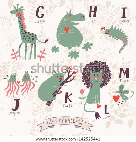 Cute zoo alphabet in vector. G, h, i, j, k, l, m letters. Funny animals in love. Giraffe, hippo, iguana, jellyfish, koala, lion, mouse. - stock vector