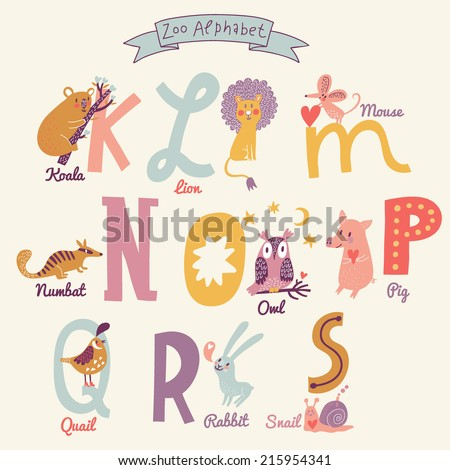 Cute zoo alphabet in vector. K, l, m, n, o, p, q, r, s letters. Funny cartoon animals. Koala, lion, mouse, numbat, owl, pig, quail, rabbit, snail in bright colors - stock vector