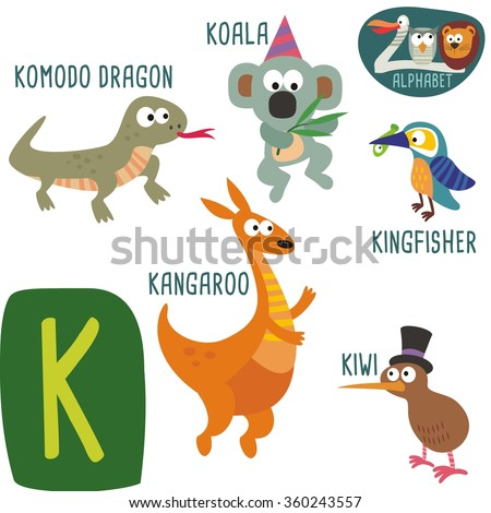 cute zoo alphabet vector k letter stock vector 360243557 shutterstock