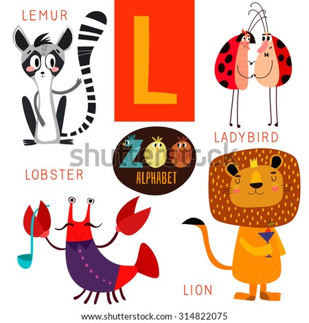 Cute zoo alphabet in vector.L letter. Funny cartoon animals:Lemur,ladybird,lobster,lion. Alphabet design in a colorful style. - stock vector