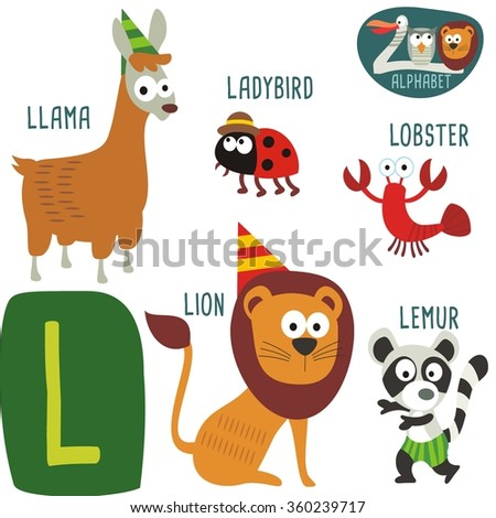 cute zoo alphabet vector l letter stock vector 360239717