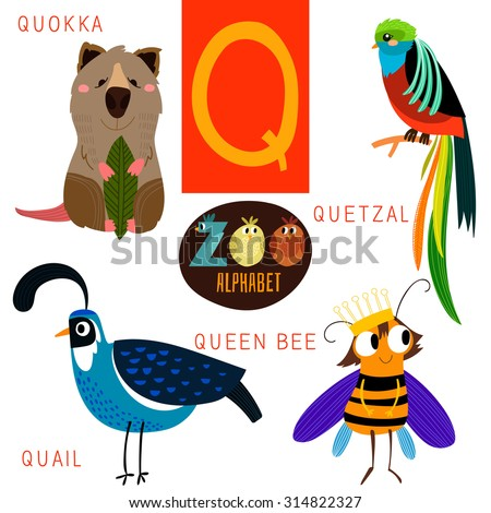cute zoo alphabet vectorq letter funny stock vector 314822327