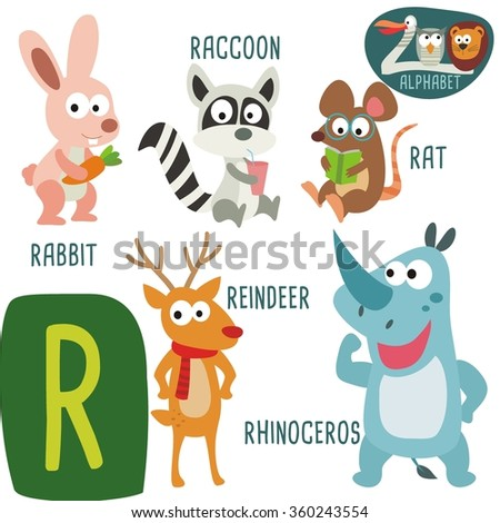 cute zoo alphabet vector r letter stock vector 360243554