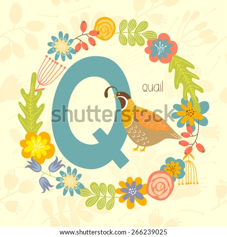 Cute Zoo alphabet, Quail with letter Q and floral wreath in vector.  - stock vector