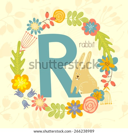 Cute Zoo alphabet, Rabbit with letter R and floral wreath in vector.  - stock vector