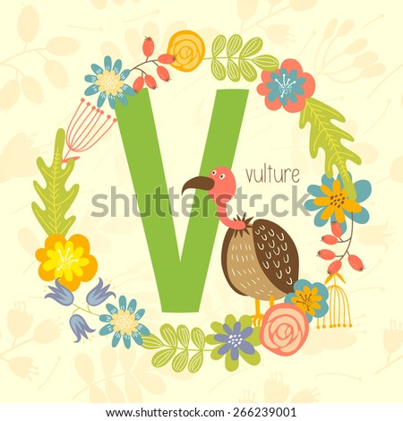 Cute Zoo alphabet, vulture with letter V and floral wreath in vector.  - stock vector