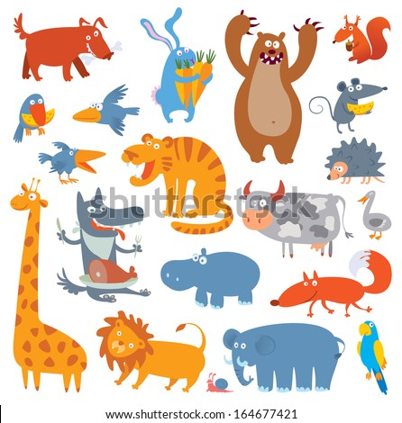 Cute zoo animals. Vector illustration. Isolated on white background. Set - stock vector