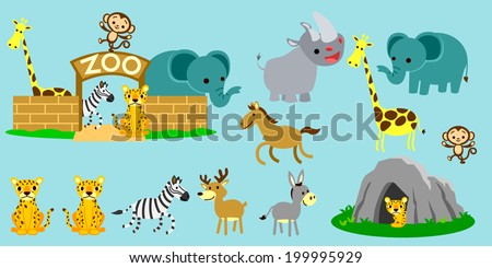 Cute zoo love learning. - stock vector