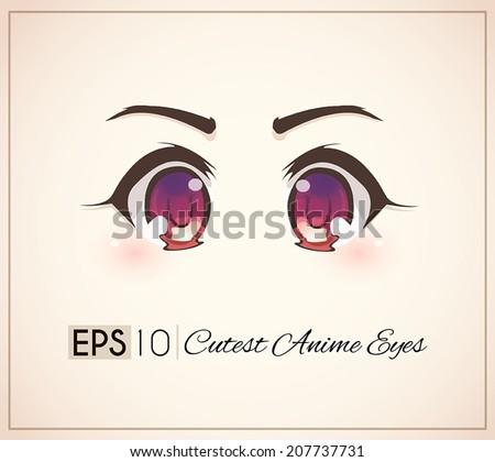 Cutest Anime Eyes. - stock vector