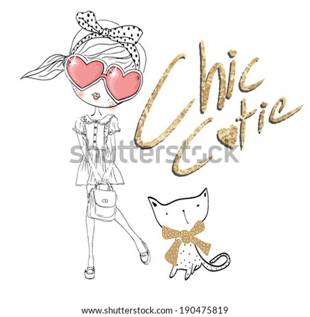 cutie girl 2 - stock vector