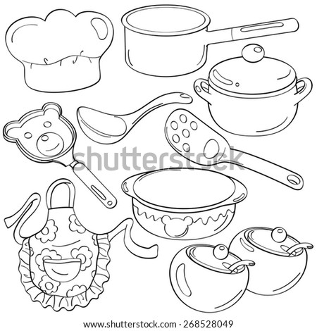 Cutie Kitchen Utensils - stock vector
