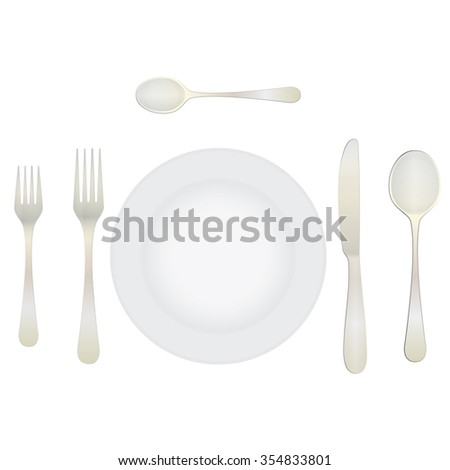 Cutlery and crockery on the table. Table setting. Etiquette. Top view ...