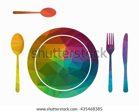 cutlery and plate poly icon