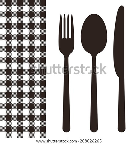 Cutlery and tablecloth pattern in black and white - stock vector
