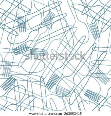 cutlery blue outline seamless pattern - stock vector