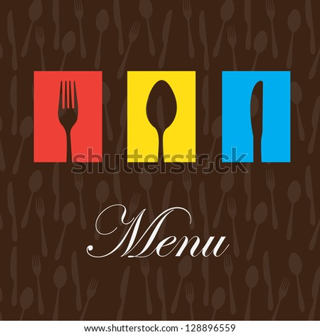 Cutlery colors over brown background vector illustration - stock vector