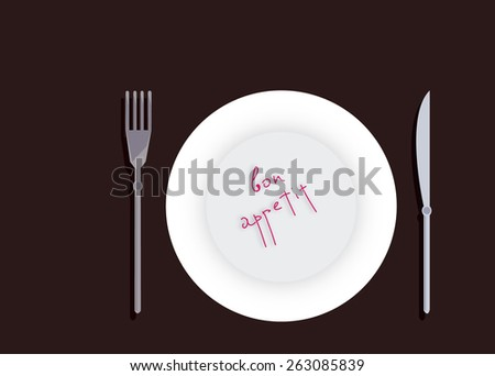 Cutlery Empty plate and Cutlery on the table  - stock vector