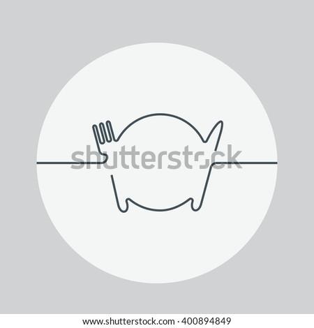 Cutlery Icon. Cutlery illustration. Cutlery vector illustration. Cutlery isolated background. Dish vector illustration. Plate icon. Dish icon - stock vector