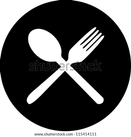 Cutlery icons. Fork, knife and spoon silhouettes . - stock vector