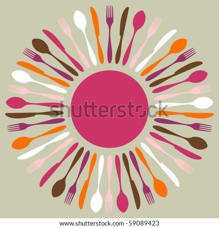 Cutlery icons. Fork, knife and spoon silhouettes in circle on beige background. Vector available.