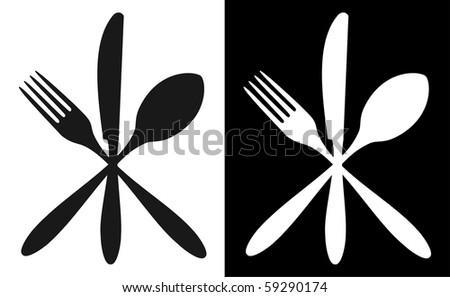 Cutlery icons. Fork, knife and spoon silhouettes on black and white backgrounds. Vector available. - stock vector