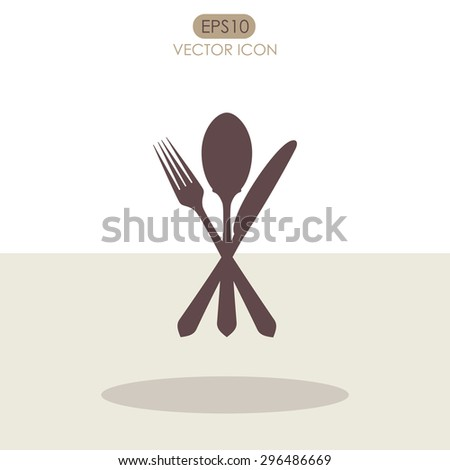 Cutlery - knife, fork and spoon icon. - stock vector