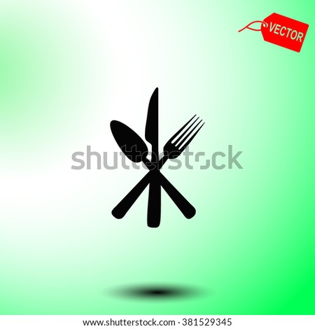 Cutlery - knife, fork and spoon vector icon.