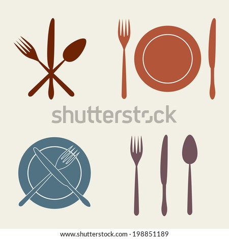 Cutlery: knife, fork, spoon and dish. Vector icons. Restaurant design. - stock vector
