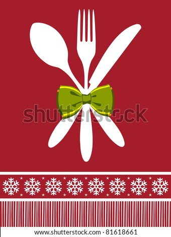 Cutlery menu design background for Christmas season. Fork, spoon and knife with a bow over red background. - stock vector