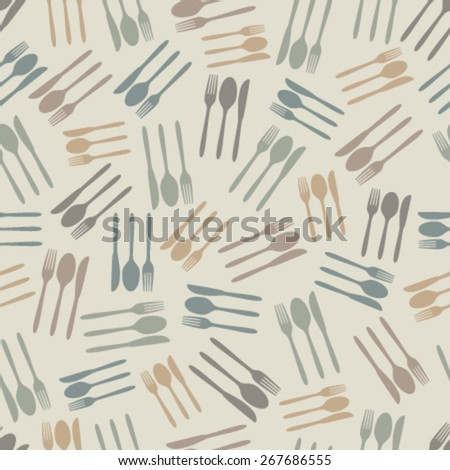 cutlery on beige seamless pattern - stock vector