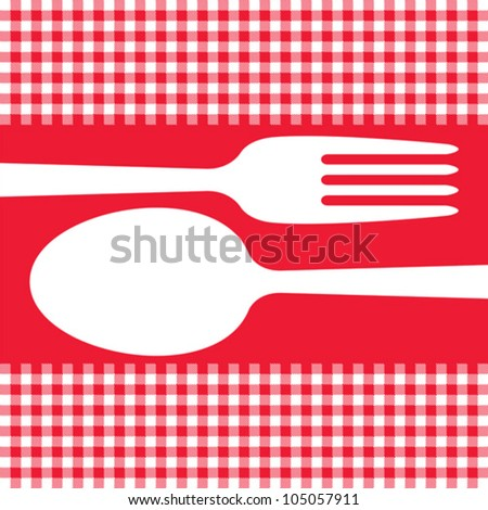 Cutlery on red tablecloth - stock vector