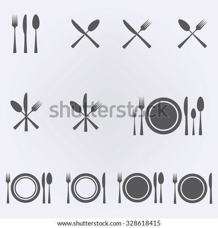 Cutlery Restaurant Icon Set . Vector illustration - stock vector