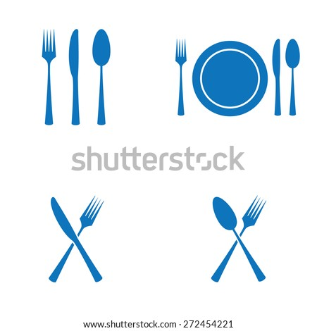 Cutlery Restaurant Icons - stock vector