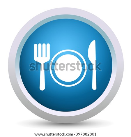 cutlery set button - stock vector