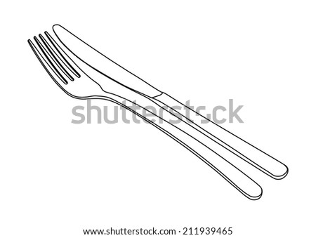 Cutlery set - fork and knife - black lines - stock vector