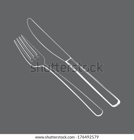 Cutlery set - fork and knife on grey background - white contours - vector - stock vector