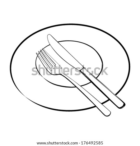 Cutlery set - fork and knife with plate - black contours - vector - stock vector