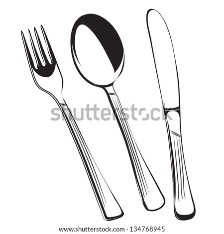 cutlery set(fork,spoon and knife)outline silhouette vector - stock vector
