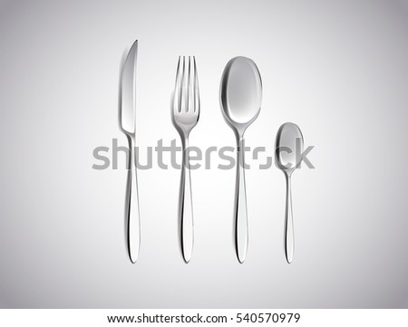 Cutlery Set of Silver Forks Spoons and Knifes Top View Isolated on White Background. Table Setting.