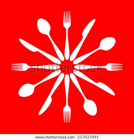 cutlery set vector graphics - clean perfect shapes on red background - stock vector