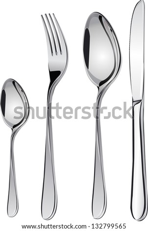 Cutlery set with Fork, Knife and Spoon isolated vector - stock vector