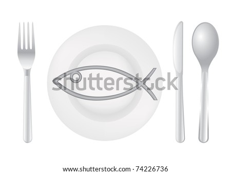 Cutlery spoon knife fork fish plate - illustration