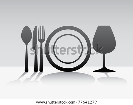 Cutlery spoon knife fork glass illustration - stock vector