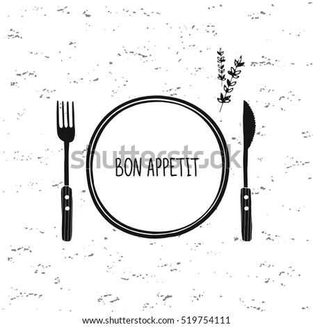 Cutlery vector set. Plate, fork and knife icon. Restaurant cafe design. Bon appetit. Doodle sketch tableware, dishes, dinnerware, utensils. Black and white hand drawn vector illustration. Isolated