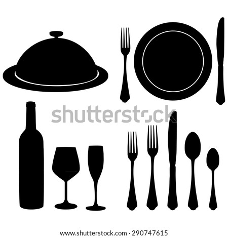 Cutlery vector set with black silhouette of wine bottle, wine glass, champagne glass, closed tray, plate, fork, knife and spoon.