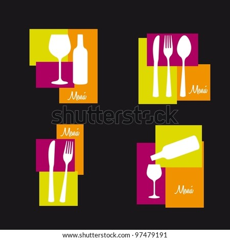 cutlery with cup wine isolated over black background. vector - stock vector