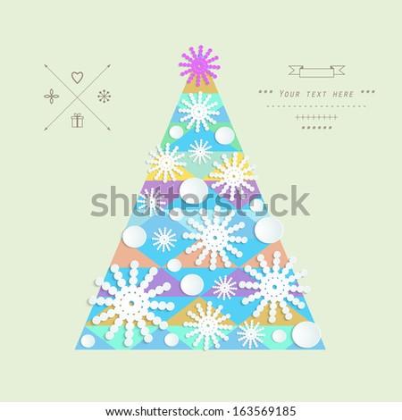 Cutout Christmas tree vector greeting card  - stock vector