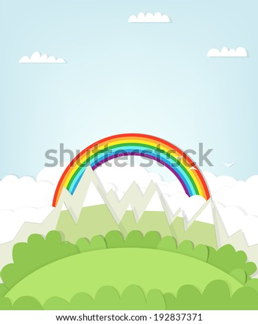 cutout mountain landscape with rainbow - stock vector