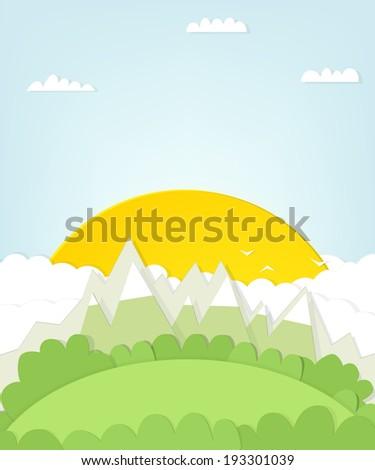 cutout mountain landscape with sun - stock vector