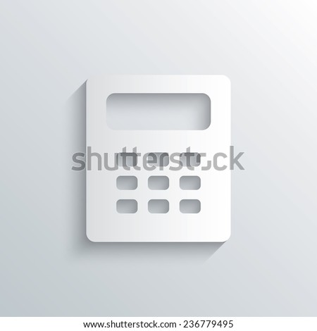 Cutout paper background. Calculator sign icon. Bookkeeping symbol. White poster with icon. Vector - stock vector